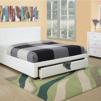 4 pc upton ii collection white faux leather upholstered and tufted queen bed set with under bed drawer