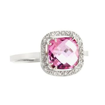 Suzanne Kalan Sterling Silver 8mm Cushion-Cut Pink Topaz Filigree Bezel Ladies' Ring