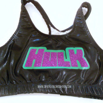 Hulkster Super Hero Metallic Sports Bra by SparkleBowsCheer
