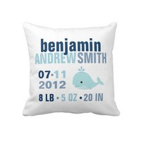 Whimsical Whale Baby Birth Announcement {blue} Pillows from Zazzle.com