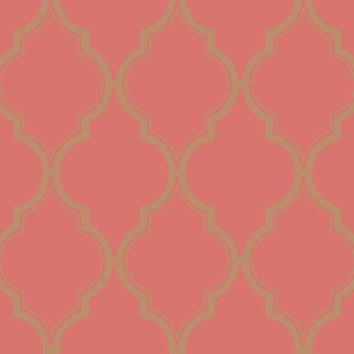 Luxury Trellis Wallpaper in Pink and Gold by Antonina Vella for York W – BURKE DECOR