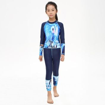 2017 One Piece Diving Suit Boys Girls Printed Bathing Suit Kids Swim Wetsuit Long Sleeve Children Swimwear Surfing Rash Guards
