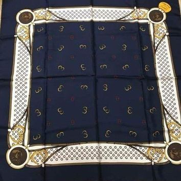 GUCCI Scarf Stole Silk 100% GG Logo Pattern Navy Luxury Auth Italy New Rare 33""