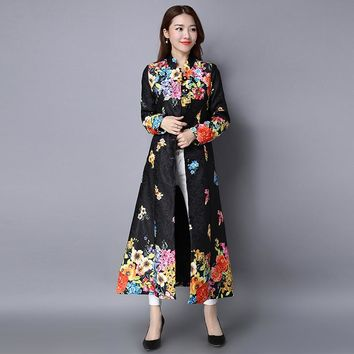 Long sleeve cardigan national wind of new fund of 2017 spring dress retro printing long coat female literary cotton buttons