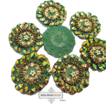 Handmade Sewing Applique Green Beaded Dress Patch Indian Craft 10 Pcs AP/BD/40