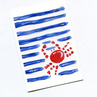 Born in July , Zodiac sign June July birthday, Cancer birthday card, blank note card,Red Red and blue stripes , 4th of July, art card
