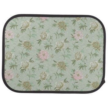 Girly Pastel Pink and Mint Floral Car Mat