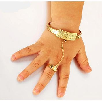 Kids Baby/Girls Gold Lovely Bangle Bracelet With Ring Hand Chain