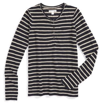 Girl's Burberry 'Ivanka' Stripe Long Sleeve Henley