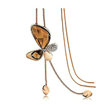 Modogirl Natural Crystal Jaker Butterfly Wing Jewelry Rose-gold Long Pendant Necklace