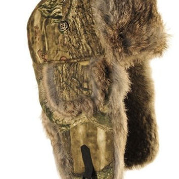 Mad Bomber Saddlecloth Bomber Hat with Real Fur, Mossy Oak Infinity with Brown Fur, Medium
