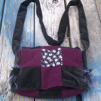 Purple Black Skulls Faux Fur Patchwork Recycled Corduroy Crossbody Purse