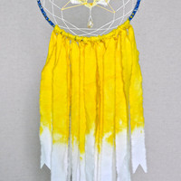 Lotus Flower Dreamcatcher, Citrine Crystal Dream Catcher, Ombre Dreamcatcher, Yellow Doily Dreamcatcher, Hand Dyed Boho Wall Hanging, Unique