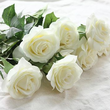 10pcs lots floral latex real touch rose artificial flowers silk flowers rose wedding bouquet home decor party flowers bridesmaid
