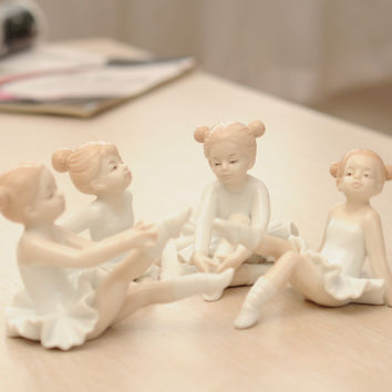 Creative ballet girl self-defense ornaments European resin home accessories crafts living room small figures Decorations gifts