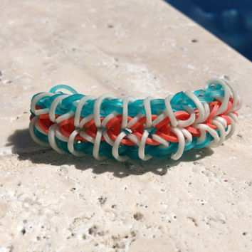 Zippy Chain Rainbow Loom Bracelet Aqua Orange White With Optional ADD ON Charm Football Soccer Baseball Basketball Cheer Tennis  Yoga