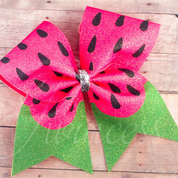 Cheer Bows, Watermelon cheer bow, bows for summer, gifts for cheerleaders,  Practice bow, pink and green cheer bow, cheer team bows