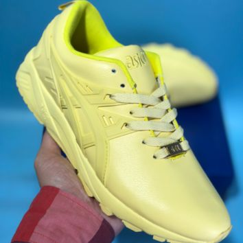 KUYOU Asics Gelkayno Leather Ratro Sport Sneaker Yellow