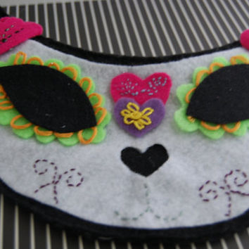 cat sugar skull wallet felt zipper pouch day of the dead cat skull