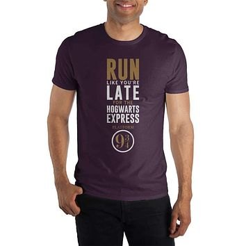Harry Potter Run Like You're Late For The Hogwarts Express Platform 9 3/4 Women's Burgundy T-Shirt