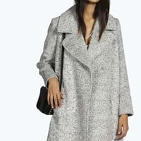 Boutique Linda Boucle Oversized Collar Cocoon Coat