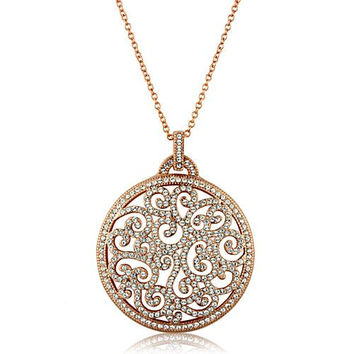 Vintage 14K Rose Gold Russian Lab Diamond Pave Pendant Necklace