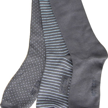 Three Pairs of Pin Dot Crew Socks in Dark Brown