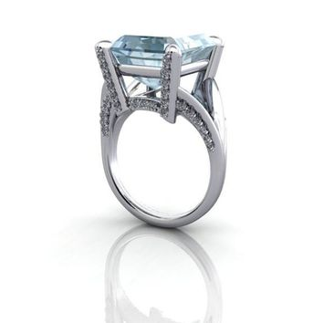 Emerald Cut Aquamarine and Diamond Cocktail Ring