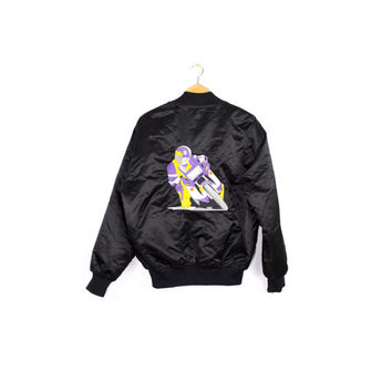 80s embroidered black nylon bomber jacket - vintage 1980s - purple motorcycle dude patch - vaporwave - mens medium - large