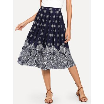 Boxed Pleated Floral Skirt