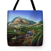 Old Wine Country Landscape Painting - Wagon Drive Delivering Grape To The Winery - Vintage Americana Print By Walt Curlee