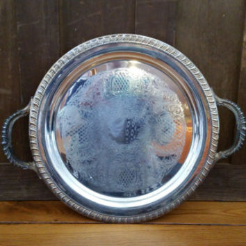 Vintage Round Ornate FB Rogers Silver Plated Tray With Handles Perfect for Decor and Entertaining
