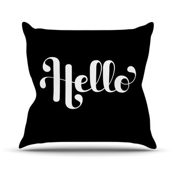 "Roberlan ""Hello"" White Black Throw Pillow"