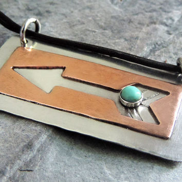Arrow Necklace, Turquoise Gemstone, Sterling Silver, Copper Cut Out, Tribal, Southwestern, Boho Jewelry
