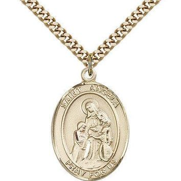 "Saint Angela Merici Medal For Men - Gold Filled Necklace On 24"" Chain - 30 Da... 617759083644"