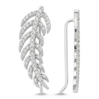 Amorium Feather Ear Cuff in Silver
