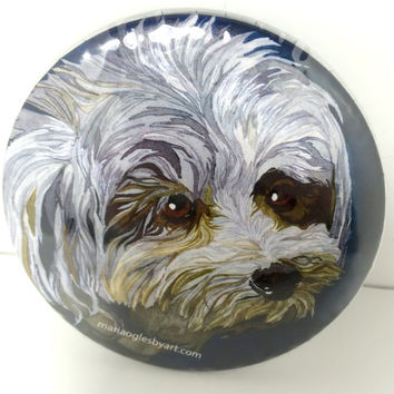 Poodle Mix in Ink and Watercolor Pin On Collectable Art Button, Cute Inquisitive Little Dog Painting Artist Collectors Button, Beautiful Dog