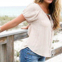 Mandalay Taupe Peasant Top