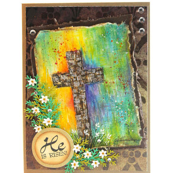 OOAK - Hand-painted - Easter Water-colour Card - He is Risen - Christian Card