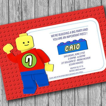 Lego Invitation, Lego Birthday, Lego Party, Personalized Lego Invitation, Lego Theme, Lego Movie (PRINTABLE File, Download, Custom Order)