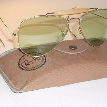 1960's 62[]14 VINTAGE B&L RAY BAN PHOTO GREEN CHANGEABLES OUTDOORSMAN SUNGLASSES