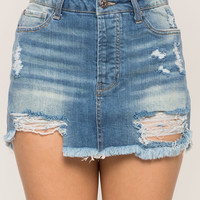 Raw Hem Distressed Denim Mini Skirt