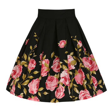 Retro Flower Midi Skirt Rose Print Floral Printed Women Girls 1950s 60s Autumn Winter Knee Length Flared Skirt High Waist Skirt