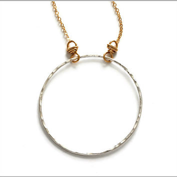 Fine Silver Hoop Necklace