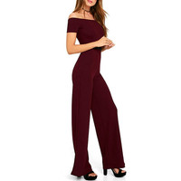 LASPERAL 2017 Sexy Off Shoulder Jumpsuit Elegant Women Summer Long Empire Romper Plus Size 2XL Long Pants Slim Bodysuit Overalls