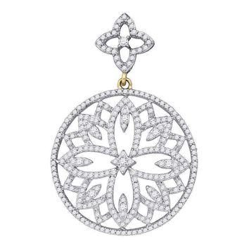 10kt Yellow Gold Women's Round Diamond Circle Pendant 1.00 Cttw - FREE Shipping (US/CAN)