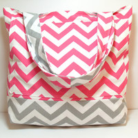 Canvas Tote Bag - Pink Gray - Chevron - Large Tote Bag - Summer Beach Bag - Made To Order