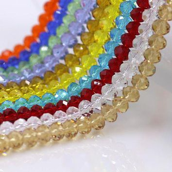 ac spbest Round Crystal 6mm Beads 98pcs Cezch Loose Austrian Crystals Rondelle Beads Charms For DIY Jewelry Making & Curtain Design