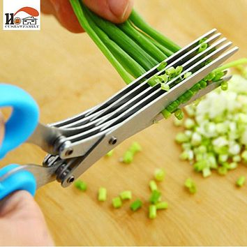 CUSHAWFAMILY Novelty 5 layers of stainless steel kitchen Chopped scallions scissors cut office shredding DIY craft scissors
