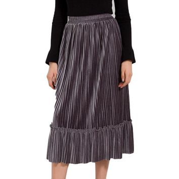 Ruffle Velvet Spring Pleated Long Skirt